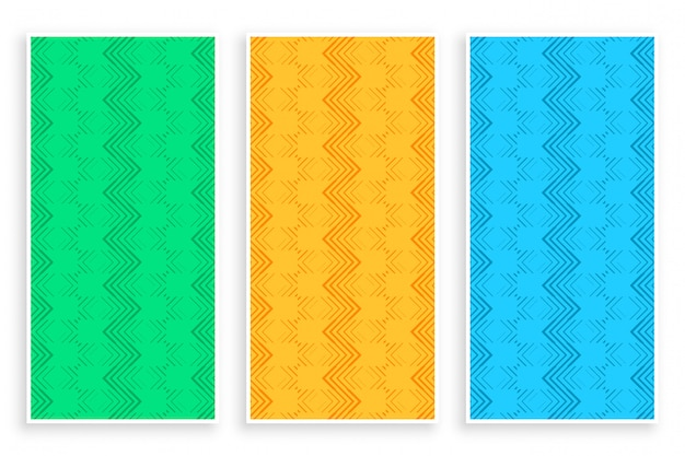 Abstract zigzag line stylish banner set