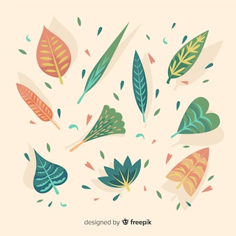 Abstractc flowers and leaves collection background