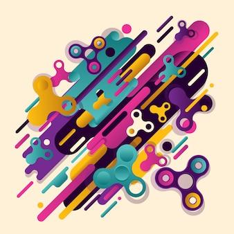 抽象スピナー。モダンスタイルの抽象化の独自の美しい組み合わせ