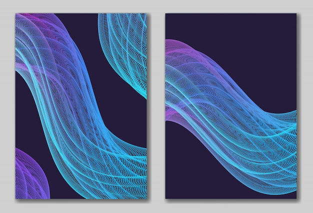 Abstracts set with bright wavy line