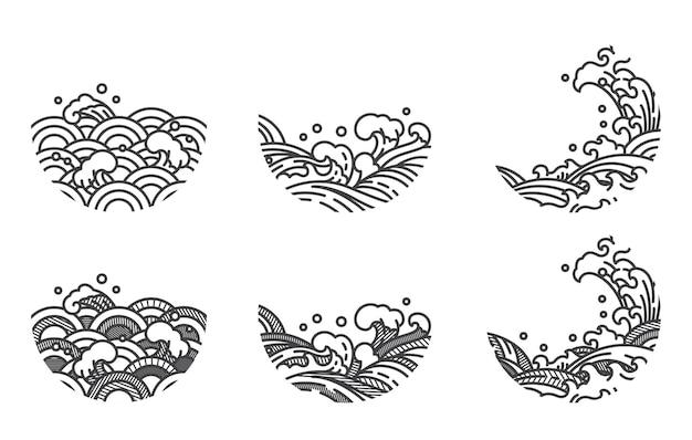 ロゴと装飾のためのストライプラインでオリエンタルラインアート水の波の湾曲した形状と色合いを抽象化します