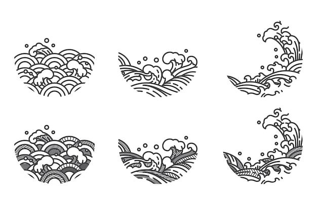 Abstrat oriental line art water wave curved shape and shade with stripe line for logo and decorative