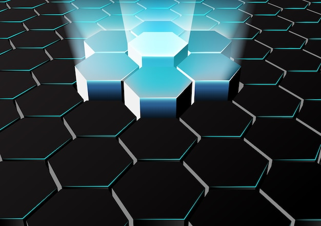 Abstratc perspective hexagonal background with blue lights