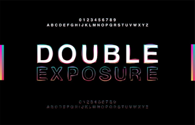 Abstrct alphabet double exposure glitch современный стиль