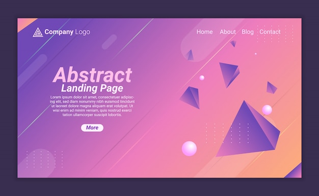 Abstrct landing page background with triangular 3d object