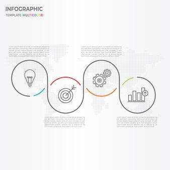 Абстракция круговой временной шкалы инфографические 4 варианта