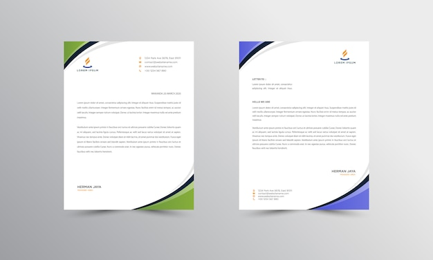 Abtract letterhead design modern business letterhead design template