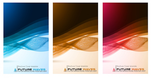 Abtract waves poster, brochure or flyer set
