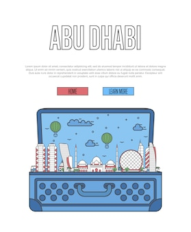 Abu dhabi city template with open suitcase