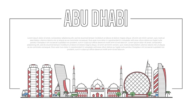 Abu dhabi landmark panorama in linear style