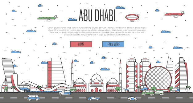 Abu dhabi skyline with national famous landmarks