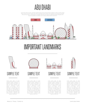 Abu dhabi travel infographics in linear style