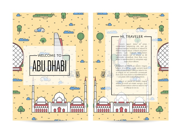 Abu dhabi traveling brochure template set in linear style