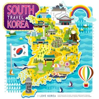 평면 디자인에 풍부한 한국 여행지도