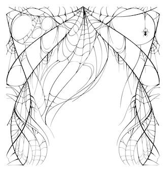Обильная рваная паутина и паук на белом фоне шаблон поздравительной открытки на хэллоуин