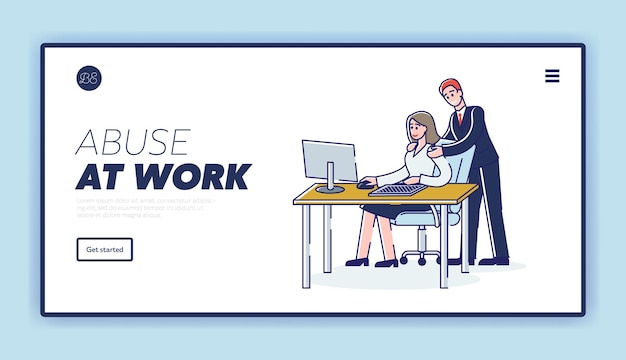 職場で女性ビジネスワーカーに嫌がらせをしているビジネスマンとの職場での虐待ランディングページテンプレート