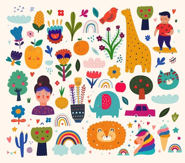 Aby 벡터 요소 컬렉션입니다. 아기 동물 패턴입니다. 패브릭 패턴 디자인입니다. 귀여운 동물과 벡터 일러스트 레이 션. 보육 아기 패턴 일러스트