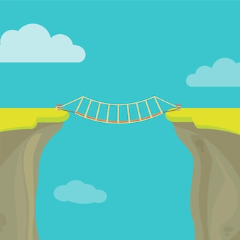 Abyss, gap or cliff concept with bridge sky and clouds.