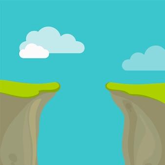 하늘과 구름과 심연, 간격 또는 절벽 개념.