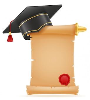 Academic graduation mortarboard square cap.