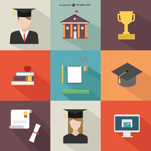 Academic icons pack Free Vector