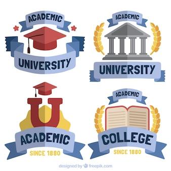Academic logos with blue ribbon
