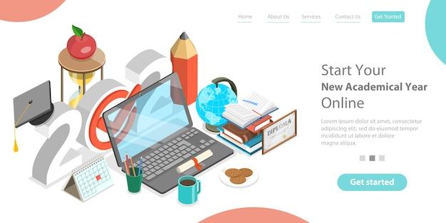 Академический год онлайн, дистанционные курсы и электронное обучение, снова в цифровой школе. изометрические плоский концептуальный.