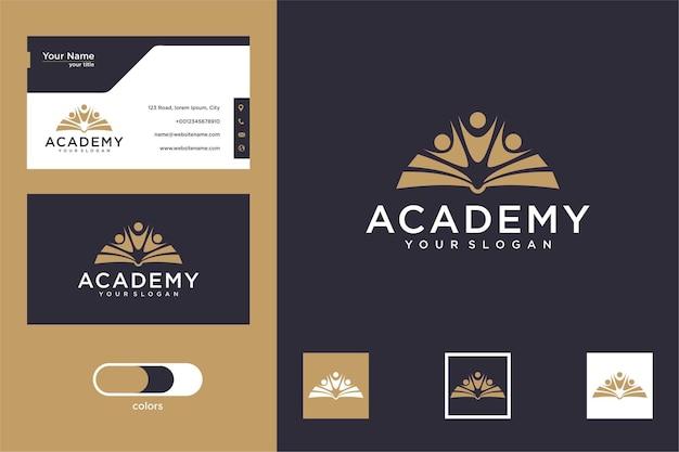 Книга академии с дизайном логотипа людей и визитной карточкой