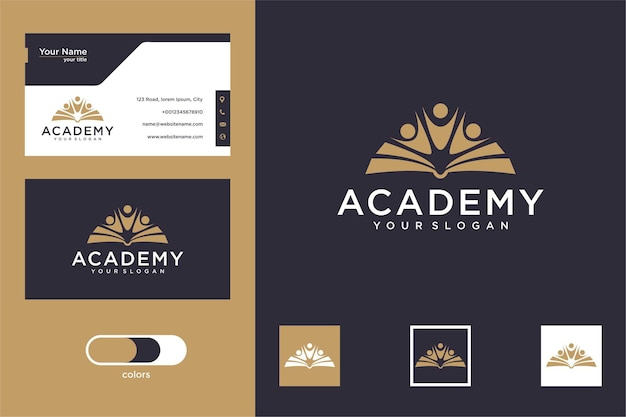 Academy book with people logo design and business card