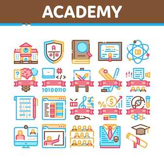 Academy educational collection icons set