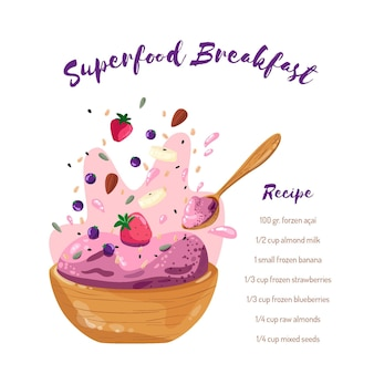 Acai bowl recipe with strawberries