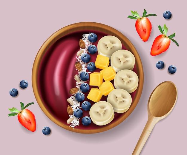 Реалистичный макет миски смузи асаи. сверху банан и фрукты. зеленые здоровые органические продукты