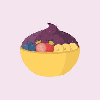Acai with fruits in the bowl illustration