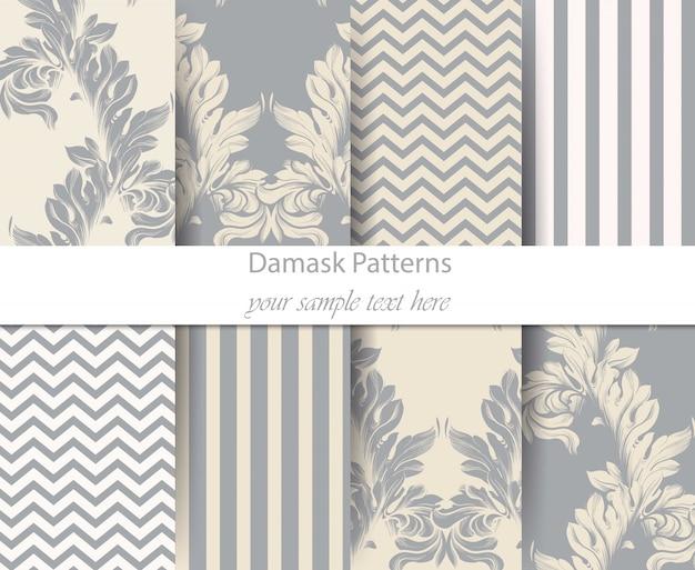 Acanthus leaf pattern vector set, classic baroque ornament decor