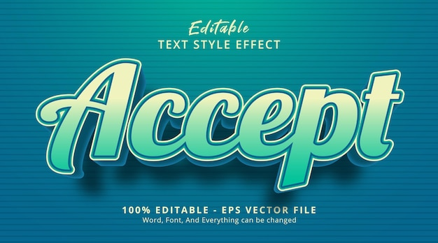 Accept text on deep blue color combination style, editable text effect