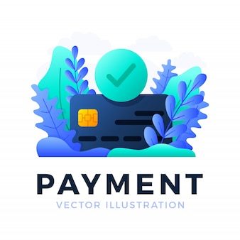 Accepted payment credit card vector  illustration isolated . the concept of a successful bank payment transaction. the front side of the card with a check mark in a circle.