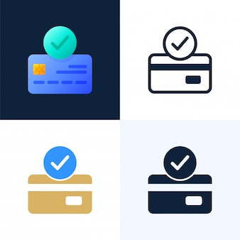 Accepted payment credit card vector stock icon set.