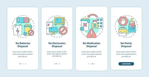 Not accepted rubbish onboarding mobile app page screen. not disposal waste materials walkthrough 4 steps graphic instructions with concepts. ui, ux, gui vector template with linear color illustrations