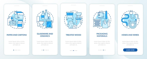 Accepted waste types blue onboarding mobile app page screen. recyclable material walkthrough 5 steps graphic instructions with concepts. ui, ux, gui vector template with linear color illustrations