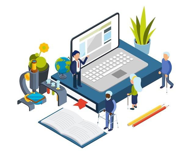 アクセス可能な教育。高齢者向けのオンラインコース。等尺性の老人、オンライン教育の概念。イラスト古い高等教育、高齢者はコンピューターを使用します