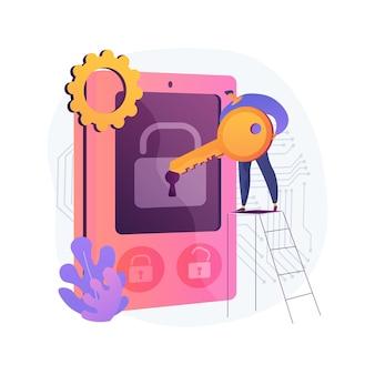 アクセス制御システムの抽象的な概念図。セキュリティシステム、入力の承認、ログイン資格情報、電子アクセス、パスワード、パスフレーズ、またはpinの確認