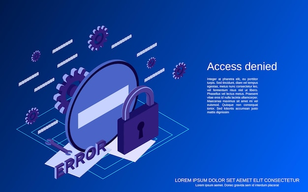 Access denied flat 3d isometric concept illustration