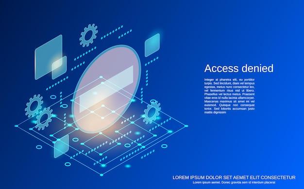 アクセス拒否フラットアイソメトリックベクトルの概念図