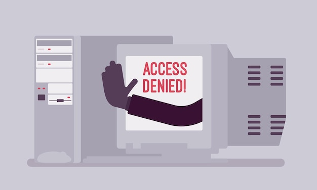 Access denied sign on old pc screen. hand from device showing user does not have permission to file, system refuses password and entry to computer data, error with warning signal. vector illustration