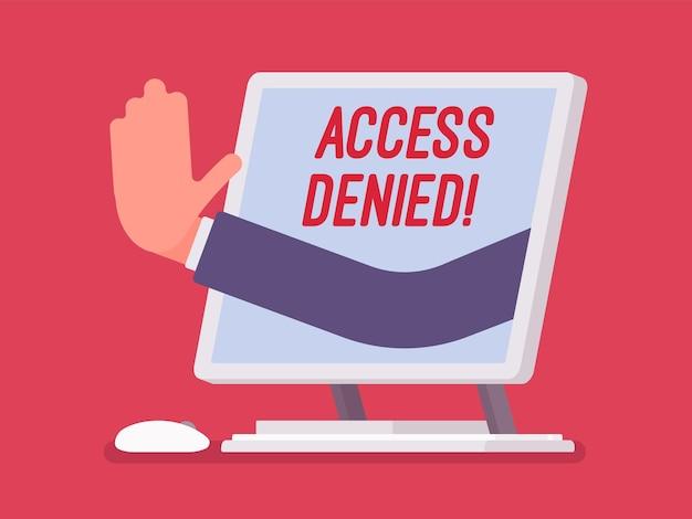 モノブロック画面でアクセス拒否サイン。ユーザーがファイルする権限を持っていないことを示すデバイスからの手、システムはパスワードとコンピューターデータへの入力を拒否し、赤い信号でエラーが発生します。ベクトルイラスト