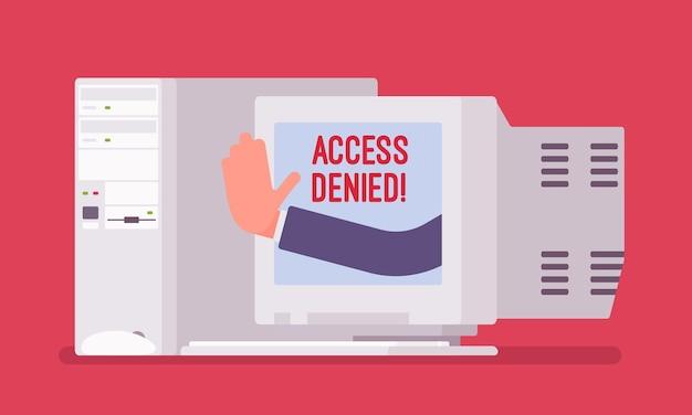 古いpc画面のアクセス拒否サイン。ユーザーがファイルする権限を持っていないことを示すデバイスからの手、システムはパスワードとコンピューターデータへの入力を拒否し、警告信号でエラーが発生します。ベクトルイラスト