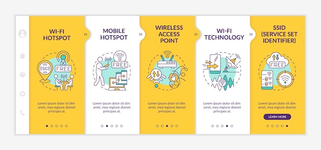 Access to internet yellow onboarding vector template. responsive mobile website with icons. web page walkthrough 5 step screens. public hotspot color concept with linear illustrations