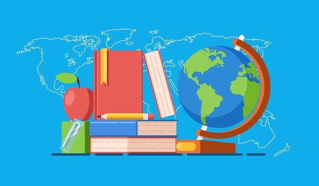 すべての概念のためのアクセス可能な教育、世界地図上の本の積み重ね