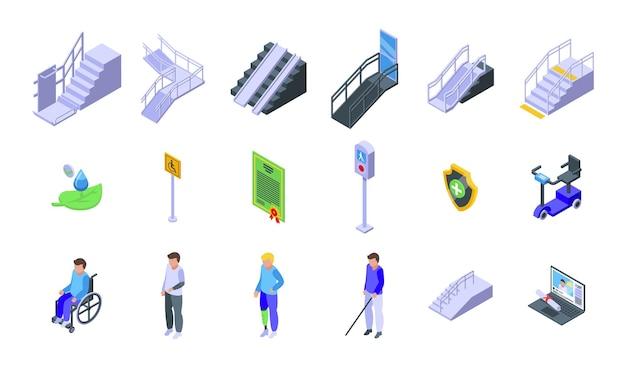 액세스 가능한 환경 아이콘을 설정합니다. 흰색 배경에 고립 된 웹 디자인을 위한 액세스 가능한 환경 벡터 아이콘의 아이소메트릭 세트