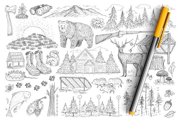 사냥꾼 낙서 세트의 액세서리 및 도구. 손으로 그린 총, 숲, 쌍안경, 야생 동물, 집 및 고립 된 사냥의 발자국 요소 컬렉션